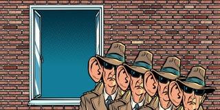 Servicio secreto del espía del estado que escucha detras de las puertas en residentes ilustración del vector