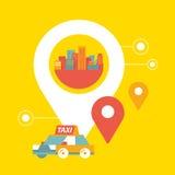 Servicio y navegación del taxi del vector en ciudad Imagen de archivo