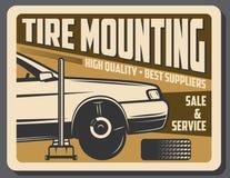 Servicio y venta del coche del montaje del neumático stock de ilustración