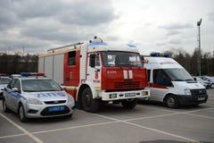 Servicios de emergencia especiales del transporte de servicio durante la competencia en el ` de Luzhniki del ` del estadio en Mos Imagen de archivo