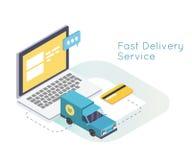 Servicios de entrega y comercio electrónico rápidos Envío por correo electrónico y compras en línea Vector isométrico plano Foto de archivo libre de regalías