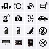 Servicios de hotel e iconos de las instalaciones Conjunto 2 Fotos de archivo