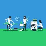 Servicios de la casa de la limpieza, el planchar de la mujer ilustración del vector