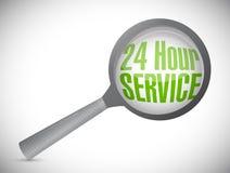 24 servicios de la hora debajo magnifican el vidrio Fotografía de archivo