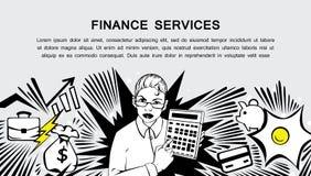 Servicios de las finanzas - bandera cómica retra del estilo Fotos de archivo libres de regalías