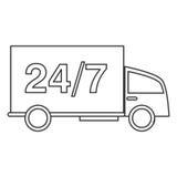 24 servicios de transporte de 7 camiones Imagenes de archivo