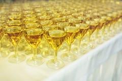 Servicios del abastecimiento vidrios con el vino en fondo de la fila en el partido Fotografía de archivo