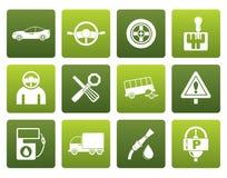 Servicios del coche plano e iconos del transporte Fotografía de archivo libre de regalías