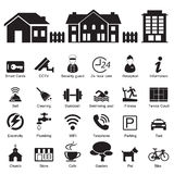 Servicios del hotel del pueblo y caseros e icono de las instalaciones Fotografía de archivo