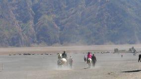 Servicios del montar a caballo de los turistas en el soporte Bromo metrajes
