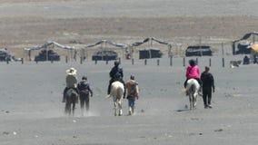 Servicios del montar a caballo de los turistas en el soporte Bromo almacen de video
