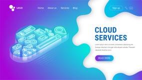 Servicios isométricos de la nube que aterrizan el neón libre illustration