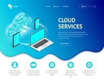 Servicios isométricos de la nube que aterrizan los dispositivos ilustración del vector