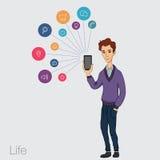 Servicios onlines en el smartphone - entretenimiento y negocio vía tecnologías de la nube Imagen de archivo libre de regalías