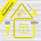 Servicios profesionales de la manitas Silueta de una casa de una regla amarilla del edificio Sistema de herramientas de la repara Fotos de archivo libres de regalías