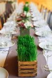 Servido casandose la tabla con las decoraciones de la hierba Fotografía de archivo libre de regalías