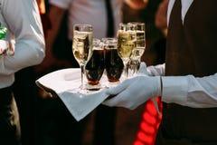 Servidor com as bebidas diferentes do álcool Fotos de Stock Royalty Free