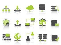 Servidor de red verde que recibe iconos