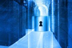 Servidor do conceito da segurança da rede fechado com cadeado, segurança do base de dados Foto de Stock