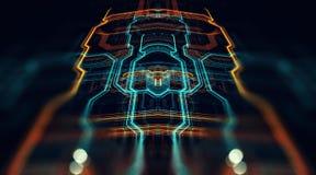 Servidor futurista impreso de la placa de circuito stock de ilustración