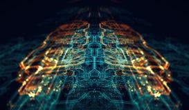 Servidor futurista impreso de la placa de circuito foto de archivo
