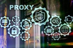 SERVIDOR PROXY Seguran?a do Cyber Conceito da seguran?a da rede na tela virtual Fundo da sala do servidor ilustração do vetor