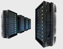 Servidores con el wireframe Imágenes de archivo libres de regalías