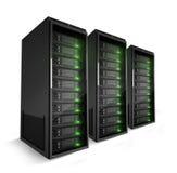 3 servidores con las luces verdes encendido Foto de archivo libre de regalías