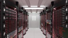Servidores da sala e da cremalheira do servidor com erro de servidor ilustração stock