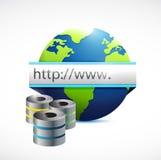 Servidores de base de datos y ejemplo del globo de Internet Imagen de archivo