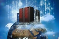 Servidores de dados no topo do mundo Imagens de Stock Royalty Free