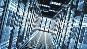 Servidores de la red y de datos detrás de los paneles de cristal en un cuarto del servidor de un centro de datos libre illustration
