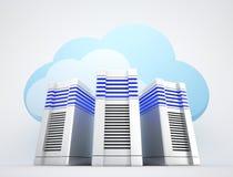 Servidores de rede com nuvens Imagens de Stock Royalty Free