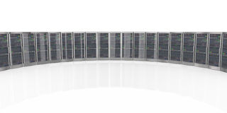 servidores del equipo de red 3d en datacenter Fotos de archivo