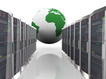 servidores del globo 3d y de ordenadores de la red Fotos de archivo libres de regalías
