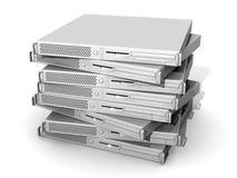 Servidores empilados 19inch Foto de archivo libre de regalías