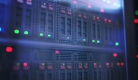 Servidores en datacenter con muchos ordenadores 3D rindió la ilustración ilustración del vector