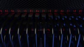 Servidores, luces rojas que destellan y conectores Cgi Imagen de archivo libre de regalías