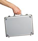 Serviette argentée en métal à disposition Photos libres de droits
