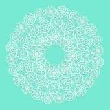 Serviette blanche de dentelle sur le fond bleu illustration de vecteur
