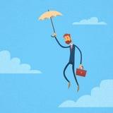 Serviette de Fly Umbrella Hold d'homme d'affaires Photo libre de droits