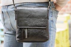 Serviette noire de cuir Photographie stock libre de droits