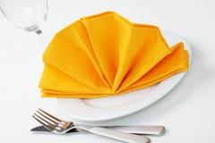 Serviette pliée comme ventilateur Image stock