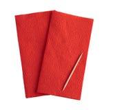 Serviette rouge sur le fond blanc Photos libres de droits