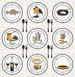Serviette und neun Mahlzeiten Lizenzfreie Stockfotos