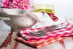 Serviettes à carreaux de tissu Images stock
