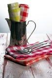 Serviettes à carreaux de tissu Photo stock