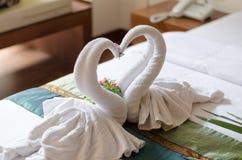 Serviettes de cygnes de couples Photos libres de droits