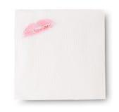 Serviettes de papier avec le rouge à lèvres Photo stock