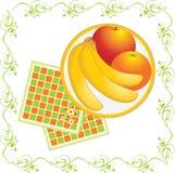 Serviettes e prato com frutas Fotografia de Stock Royalty Free